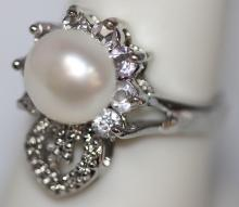WHITE PEARL WITH ILLUSIONS AND CZ RING #43156v1