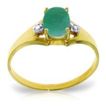 14K Solid Gold Ultrapolished Emerald Diamond Ring #20452v0