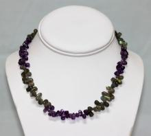 150.01 CTW Natural Amethyst And Moon Stone Necklace #49017v1