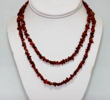 145.01 CTW Natural Un-Cut  Red Onyx Bead Necklace  #49143v1