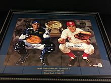 Ivan Rodriguez & Johnney Bench Autographed
