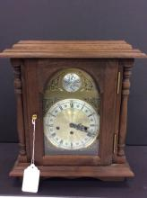 Time And Strike Oak Case Mantle Clock With Key