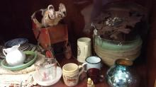 Selection of antique light covers porcelain items