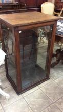 Antique American tiger oak display cabinet with