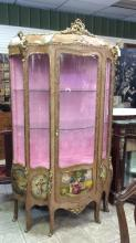 Mid-1800s antique French parlor display cabinet