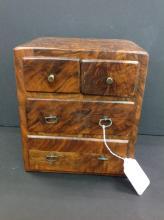 Antique Burlwood Jewelry Cabinet