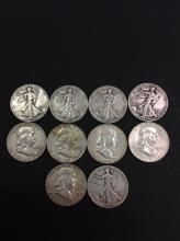 5 Franklin Silver Half Dollars & 5 Walking