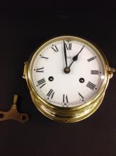 Vintage Schatz 8 Day Brass Ships Clock With Key