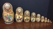 Russian Wooden hand painted nesting dolls 10 pc