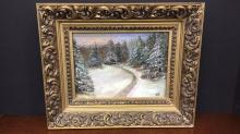 Small framed oil on canvas painting artist signed