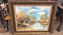 Large framed and matted oil on canvas signed