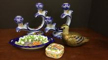 Talavera-style handpainted ceramic pieces and