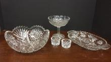 Selection of crystal serving pieces
