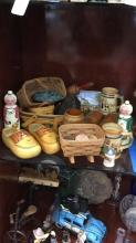 Selection of baskets, wooden handpainted shoes