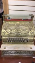 Antique brass National cash register working