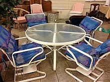 Outdoor Table WIth 4 Chairs & Chaise Lounge