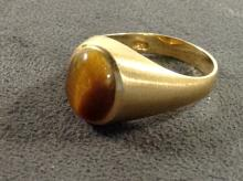 10K Yellow Gold Ring With Tigers Eye