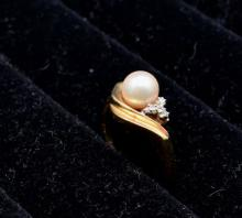 10kt Yellow Gold Cultured Pearl Ring
