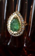 14kt Yellow Gold Emerald & Diamond Ring