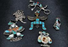 Southwestern Stone Inlaid Sterling Pins