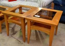 2 Plain Contemporary Oak Side Tables