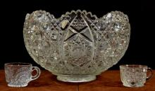 Molded Glass Punchbowl & Cups