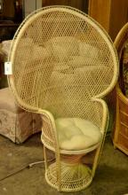 Peacock Back Wicker Chair