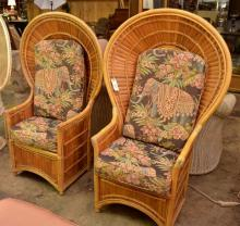 Pair of Peacock Back Bamboo Chairs