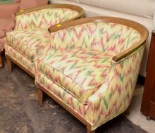 Pair of Barrel Back Lounge Chairs