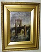J.M. Price River Scene Under Bridge Oil On Canvas