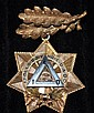 Masonic Medal Memorial Pin, Tested 14Kt