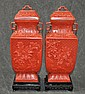 Chinese Cinnabar Covered Jars Pair