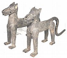 Benin Bronze Leopards, Pair