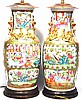Famille Rose Lamps, Pair