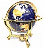 Semi Precious Stone Globe in Brass Stand, 1 Piece