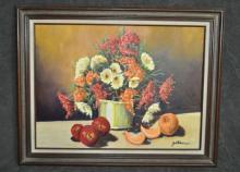 Floral Still Life with Fruit by Jack Eckner