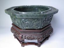 Chinese spinach Jade carved bowl