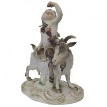 19th Century Meissen Porcelain Satyr with Goat Figure