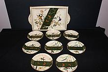 LOVELY 9 PC. BERNY SET - ALL MINT & SIGNED - HUMMINGBIRD SCENE