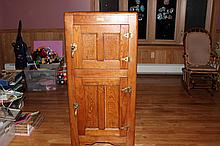 SUPER 2 DOOR OAK ICE BOX - MINT COND. INSIDE & OUT - 53 X 24 X 18