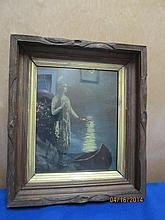 NICE CARVED DEEP WALNUT FRAME INDIAN WITH CANOE IN MOONLIGHT