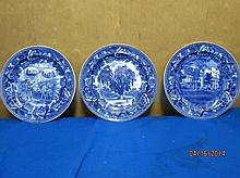 3 EARLY WEDGWOOD HISTORICAL PLATES 9.25
