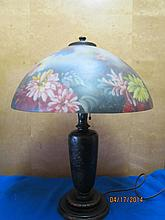 GREAT REVERSE PAINTED HANDEL TABLE LAMP WITH FLORAL SHADE - BOTH THE BASE AND THE SHADE ARE SIGNED - SHADE 17.5