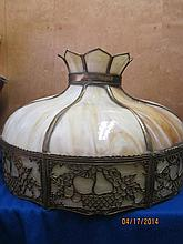 NICE 8 PANEL SLAG VINTAGE GLASS HANGING DOME 23.5
