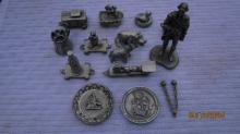 LOT OF 14 PEWTER MINIATURES - EXC. COND
