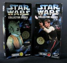 STAR WARS COLLECTOR SERIES GREEDO & HAN SOLO FIGURE LOT Kenner Toy, 1996. Two 12
