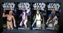 STAR WARS COLLECTOR SERIES C-3P0, LUKE SKYWALKER, OBI-WAN KENOBI, & TUSKEN RAIDER Kenner Toy, 1996. Four 12