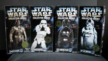 STAR WARS COLLECTOR SERIES DARTH VADER, STORMTROOPER, TIE FIGHTER PILOT, & AT-AT DRIVER  Kenner Toy, 1996. Four 12