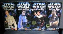 STAR WARS COLLECTOR SERIES LUKE SKYWALKER (Bespin outfit), LANDO CALRISSIAN, HAN SOLO, & CHEWBACCA  Kenner Toy, 1996. Four 12