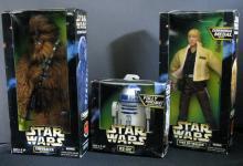 STAR WARS ACTION COLLECTION CHEWBACCA & LUKE SKYWALKER (ceremonial gear), R2-D2 Kenner Toy, 1997. Three 12
